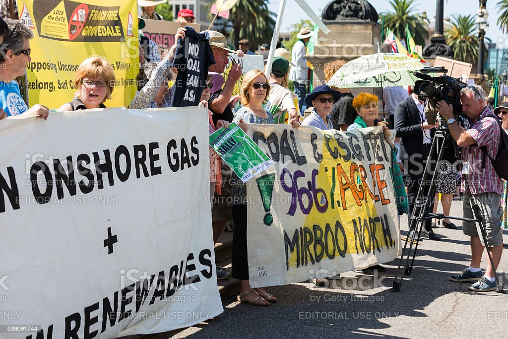 Anti Coal Seam Gas Protesters March onto Parliament House stock photo