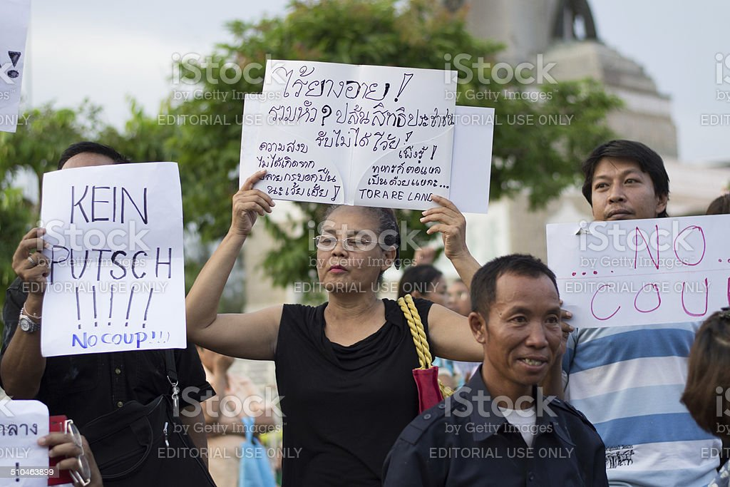 Anti coup in Thailand stock photo