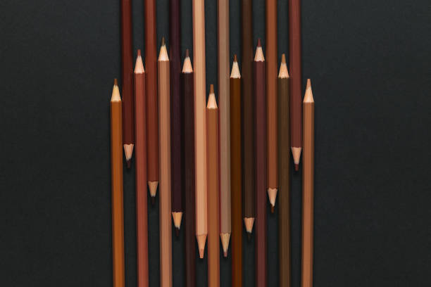 Anti racism concept Heart shape from pencils of various skin colors. social justice concept stock pictures, royalty-free photos & images