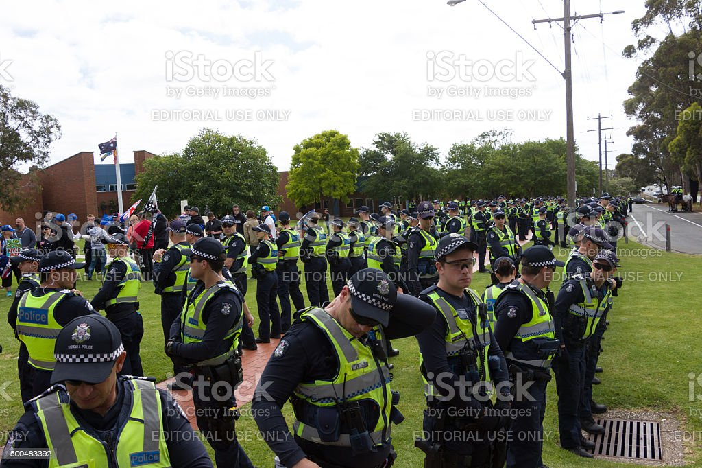 Anti Racism protesters clash with Reclaim Australia stock photo