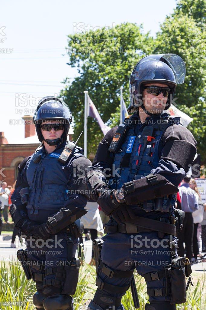 Anti Racism protesters clash with Reclaim Australia stock photo