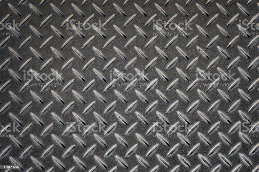 Anti slip gray metal plate with diamond pattern stock photo