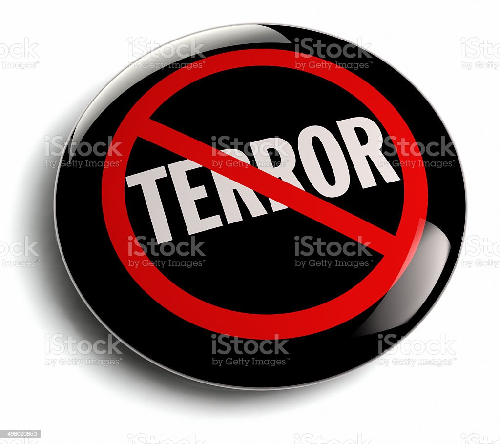 Anti Terror Campaign Badge on White stock photo