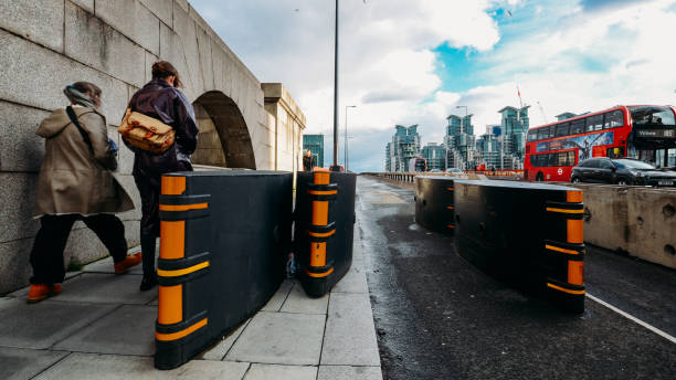 Anti terrorism safety barriers on Vauxhall Bridge, London, UK London, UK - Feb 10, 2019: Anti terrorism safety barriers on Vauxhall Bridge, London UK counter terrorism stock pictures, royalty-free photos & images