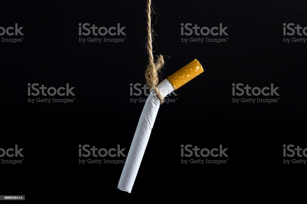 Anti Tobacco, Cigarette was hanged with a rope on dark background. Lizenzfreies stock-foto