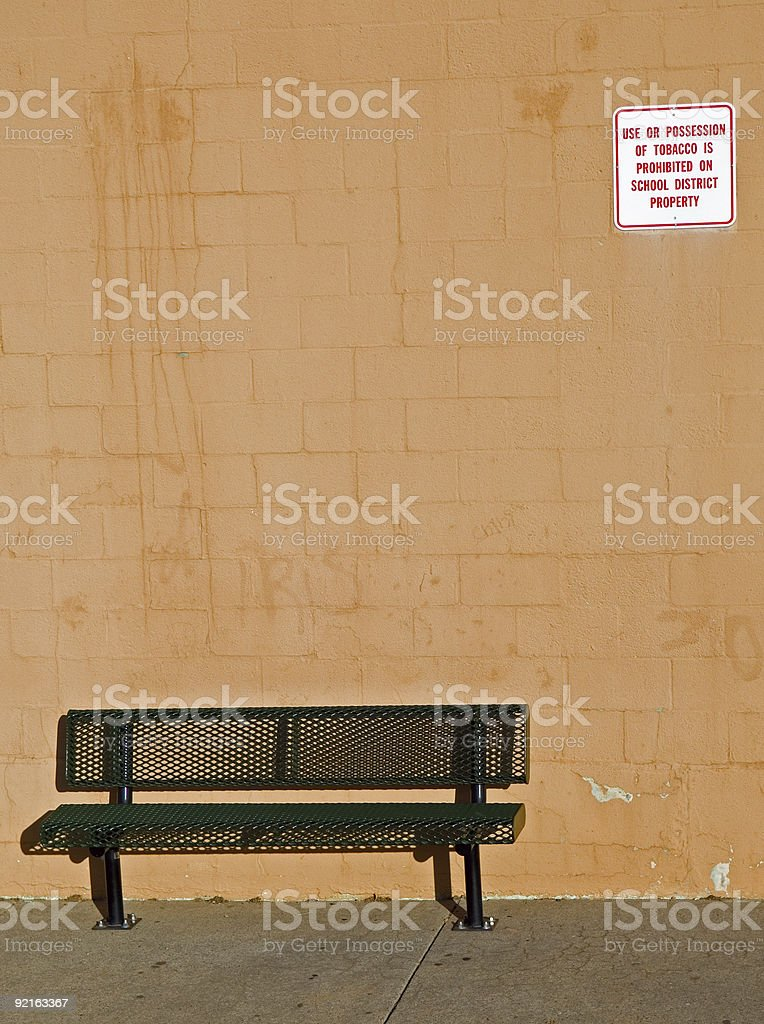 Anti Tobacco Sign and Bench royalty-free stock photo