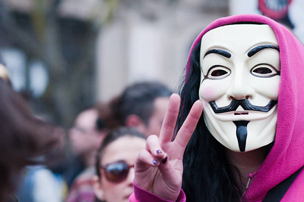 anti troika protest - guy fawkes mask stock photos and pictures