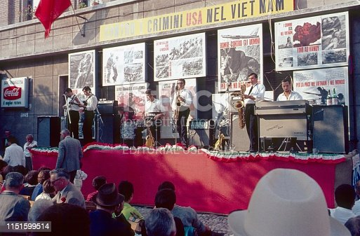 Genoa, Liguria, Italy, 1968.  Anti Vietnam Event of the Communist Party of Italy in Genoa. Furthermore: Jazz band, Musical instruments  and posters.