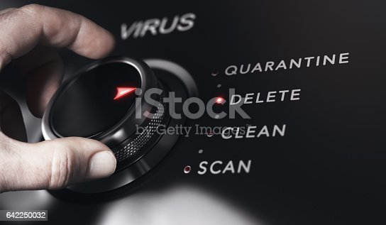 Hand turning a button with the title virus. Antivirus protection system concept, horizontal image. Composite between an image and a 3D background.