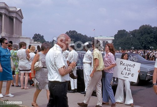 Washington D.C., USA, 1974. Anti-Abortion Demonstration in Front of the Capitol in Washinton D.C.
