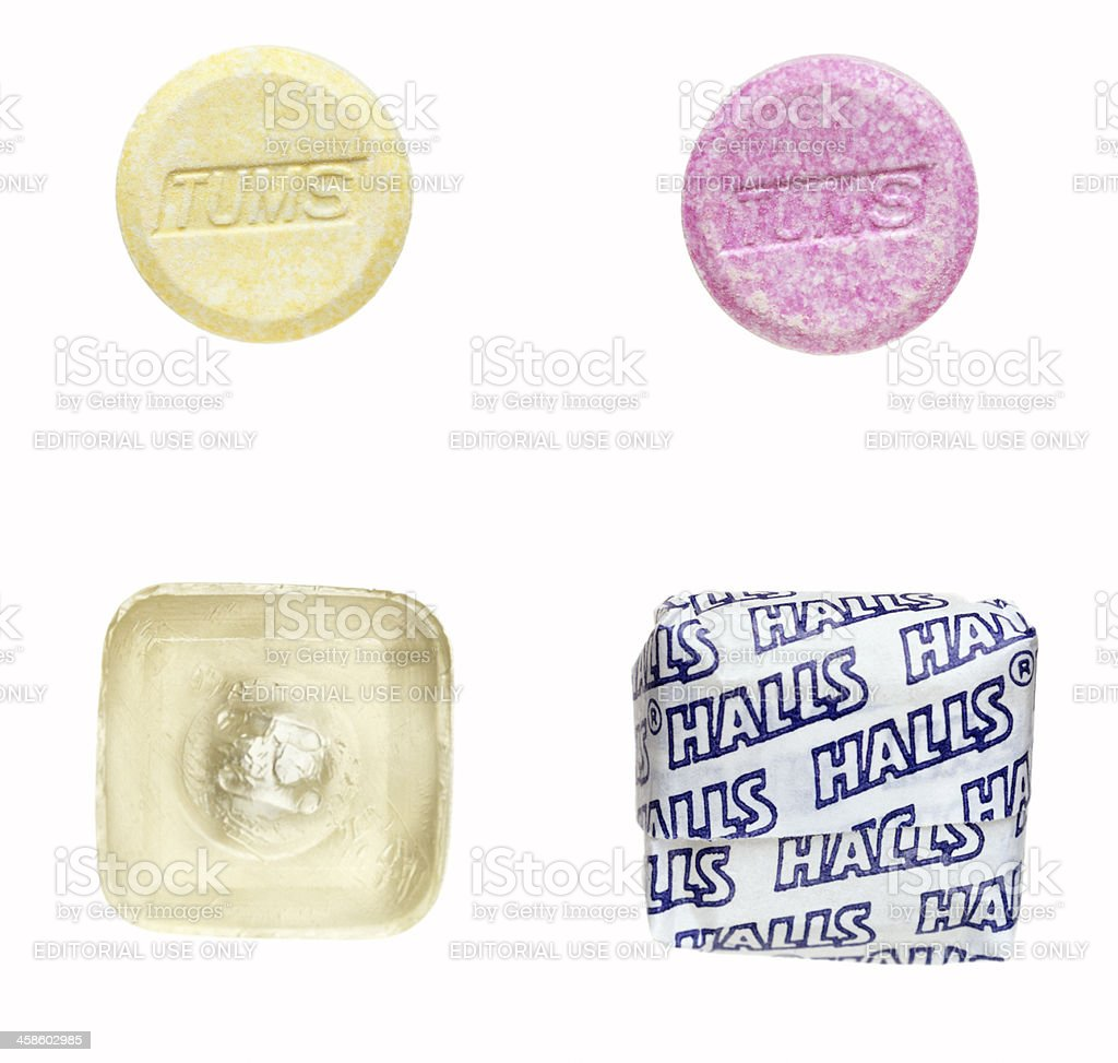 Antiacids and cough drops. stock photo