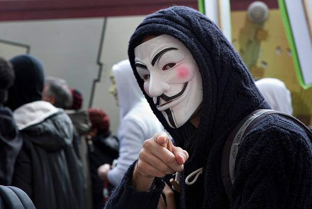anti-acta protest - guy fawkes mask stock photos and pictures