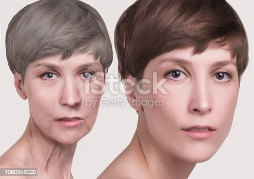 istock Anti-aging, beauty treatment, aging and youth, lifting, skincare, plastic surgery concept. 1080356220