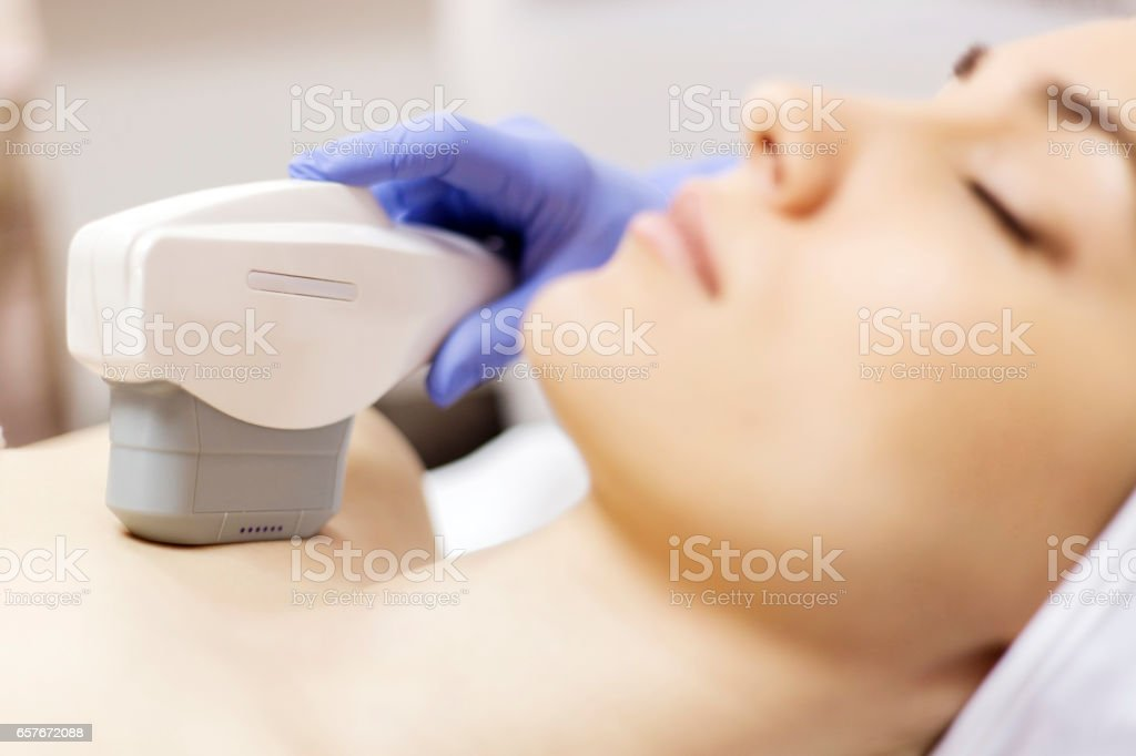 Anti-aging treatment, IPL laser, photo skin therapy stock photo