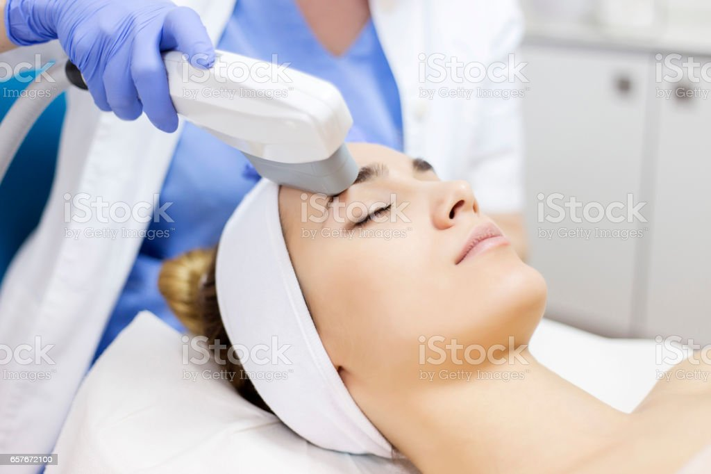 Anti-aging treatment, IPL laser, photo skin therapy stock photo