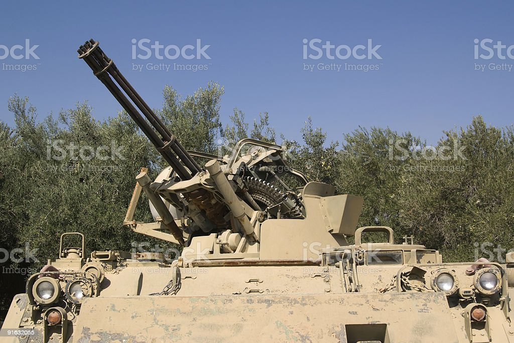 anti-aircraft cannon stock photo