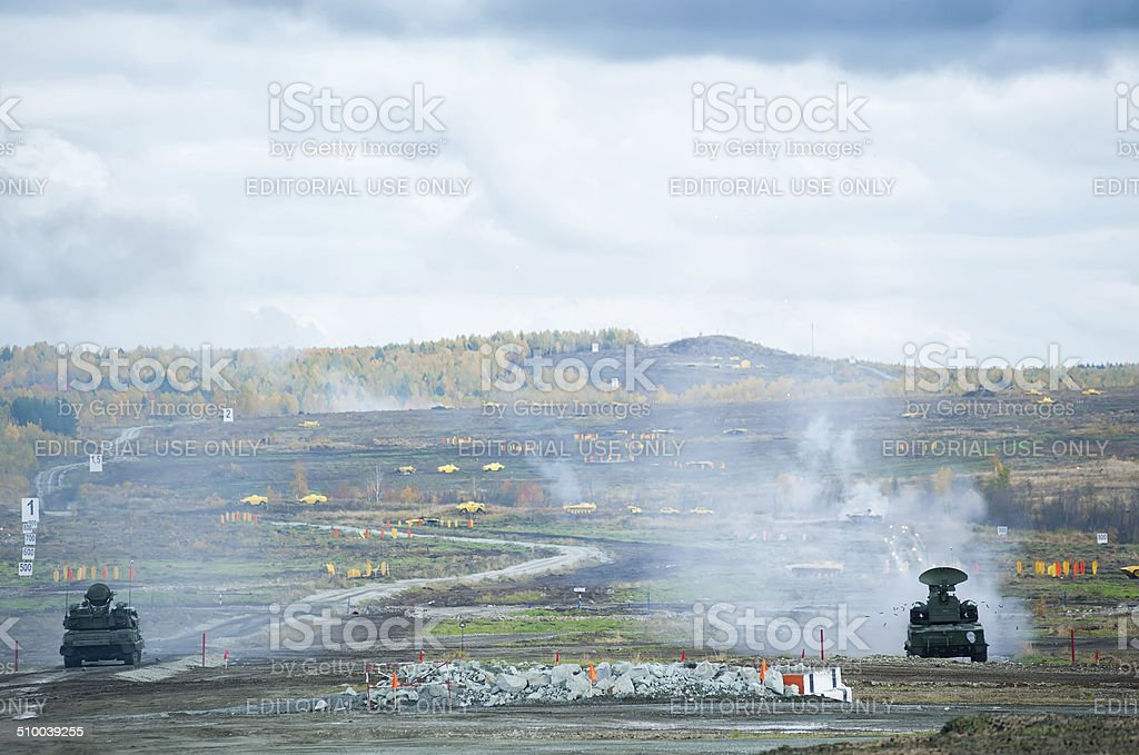 Antiaircraft gun missile systems in action stock photo
