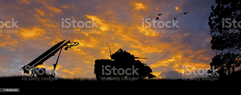 Anti-Aircraft Missile and Tank Silhouette stock photo