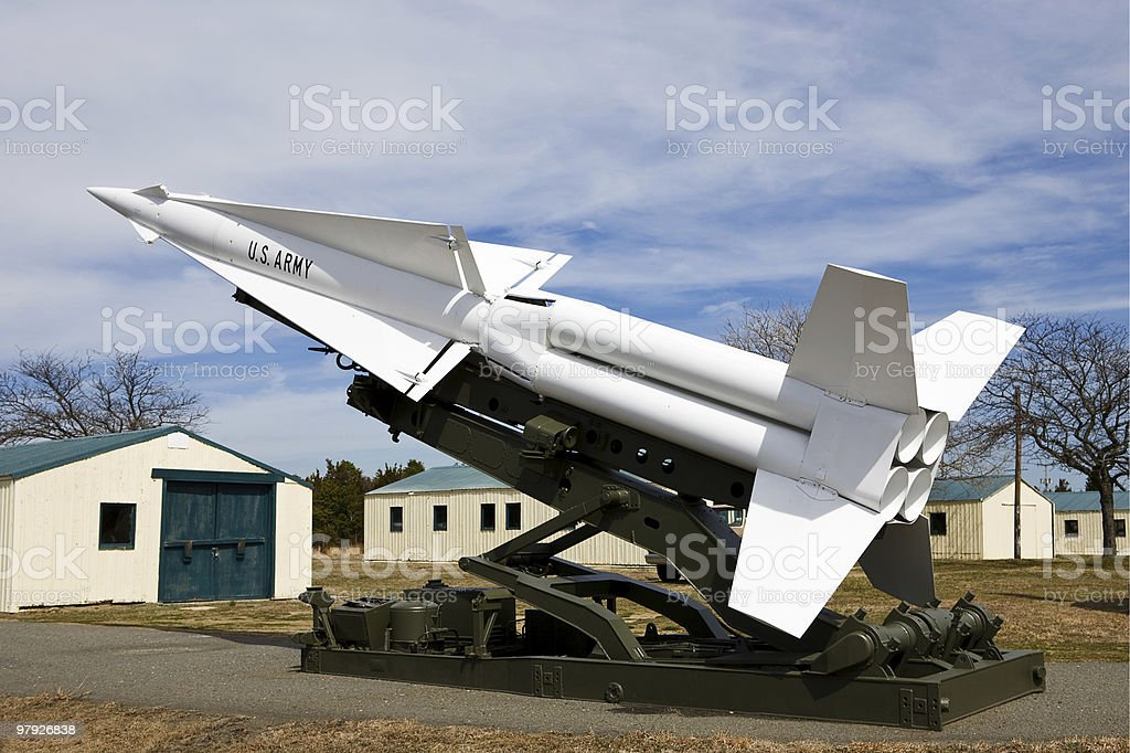 Anti-Aircraft Missile On Display stock photo