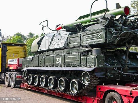Slavyansk, Ukraine - June 20, 2016: An anti-aircraft missile system BUK, transportation of a combat vehicle through the city to the anti-terrorist operation zone. Transportation through the city of Slavyansk.
