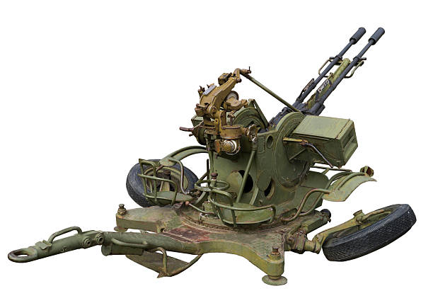 Anti-aircraft mount Anti-aircraft mount-is isolated on the white antiaircraft stock pictures, royalty-free photos & images