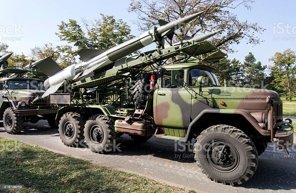 Antiaircraft rockets stock photo