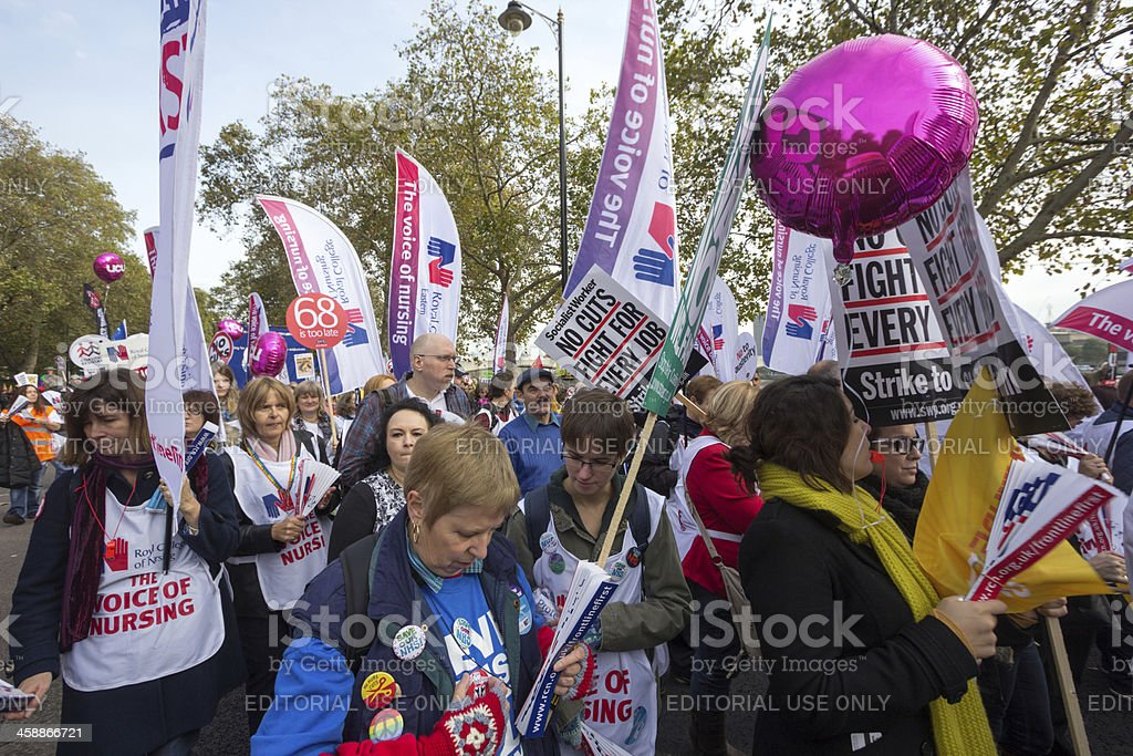Anti-Austerity March in London, England royalty-free stock photo