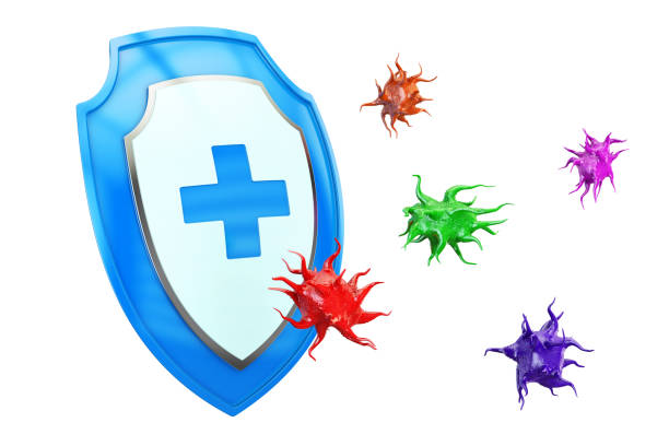 Antibacterial or anti virus shield, health protect concept. 3D rendering Antibacterial or anti virus shield, health protect concept. 3D rendering antiviral drug stock pictures, royalty-free photos & images