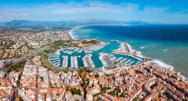 Antibes aerial panoramic view, France stock photo