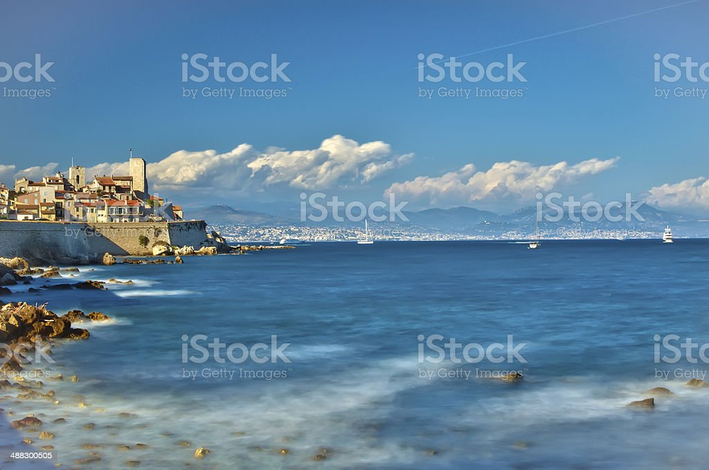 Antibes Citadel and mediterranean coast, French Riviera stock photo