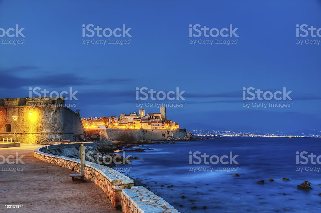 Antibes city by night. stock photo