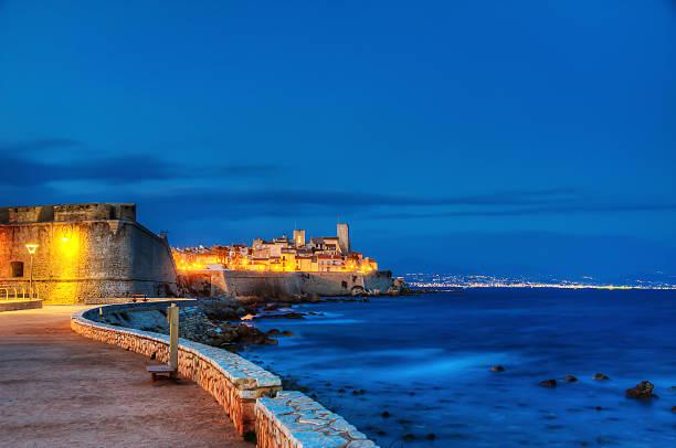 Antibes city by night. stock photo