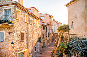 Street view in Antibes coastal village on the french riviera in France