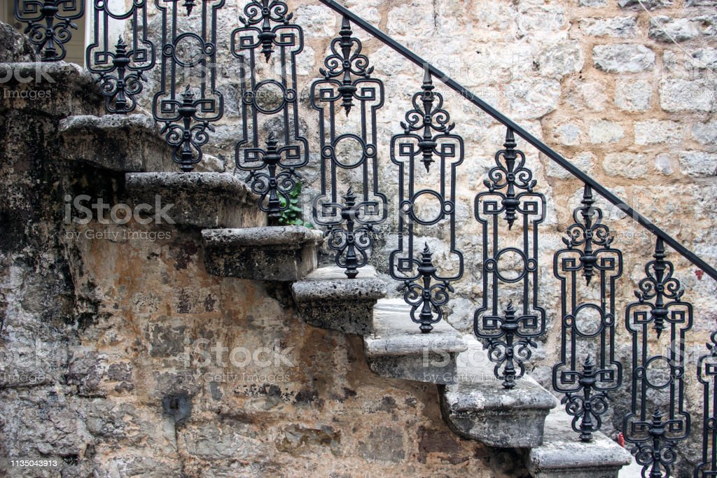 Antic Stone Stairs With Wrought Iron Railings Stock Photo Download Image Now Istock
