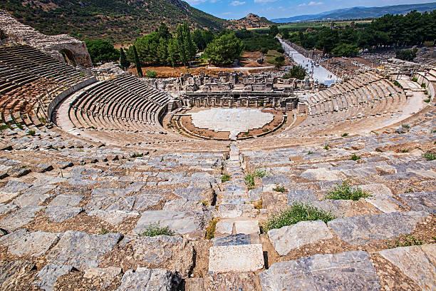 Antic theater in Ephesus, Anatolia, Turkey .  Coliseum Antic theater in Ephesus, Anatolia, Turkey .  Coliseum ephesus stock pictures, royalty-free photos & images