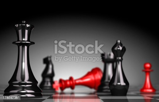 Close up of a chessboard with selective focus on the queen blur effect the red king is checkmate light effect a the background 3D render.