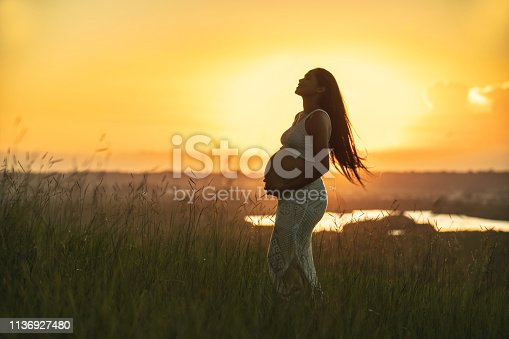 Pregnant, Abdomen, Touching, Sunset, Human Abdomen