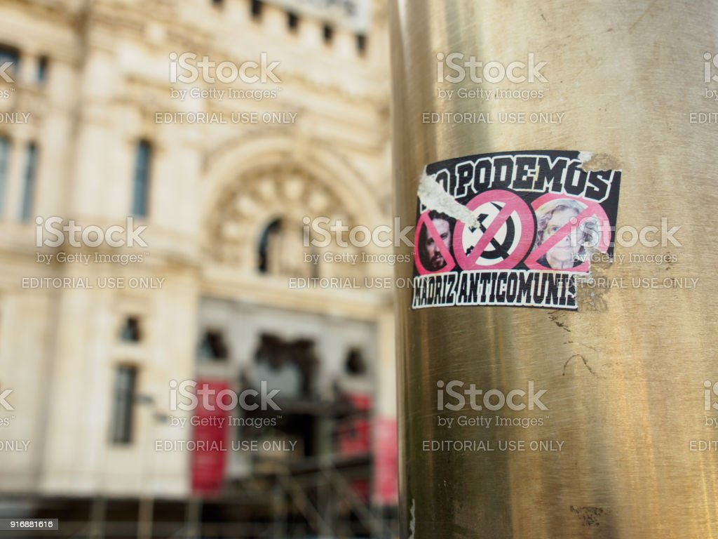 Anticommunist Sticker On Pole Madrid Spain Stock Photo