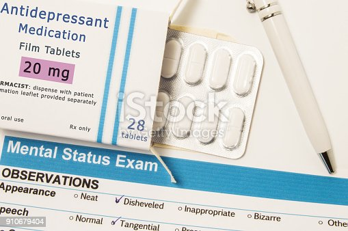 istock Antidepressant Medications or drugs. Packing box with blister of drug, which is name of Antidepressant Medications lies next to result of Mental status exam, conducted by psychiatrist to patient 910679404