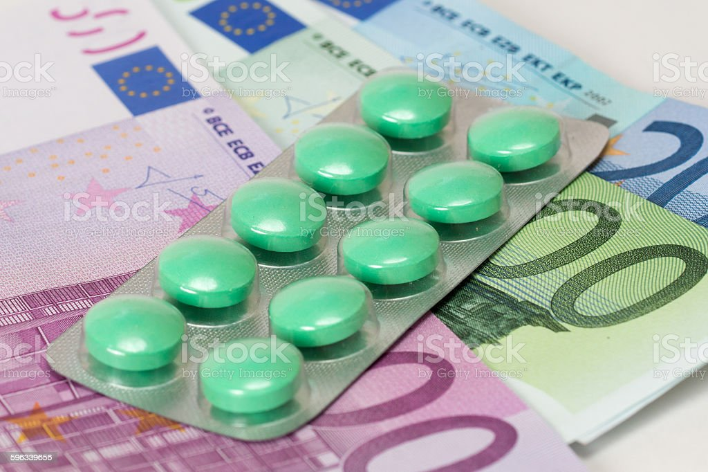 antidepressant pills and euro banknotes royalty-free stock photo