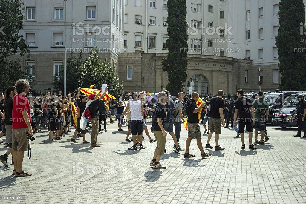 BARCELONA, SPAIN - SEPTEMBER 11, 2014: Antifa manifestation stock photo