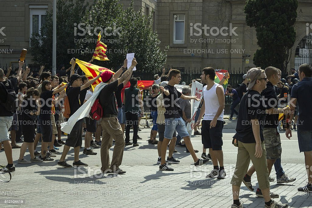 BARCELONA, SPAIN - SEPTEMBER 11, 2014: Antifa manifestation stock photo