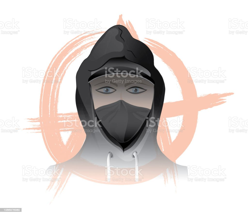Antifa Protest Masked Demonstrator Political Fascism Mob Violence Civil Disobedience Racism Riot Anarchy Terrorist stock photo