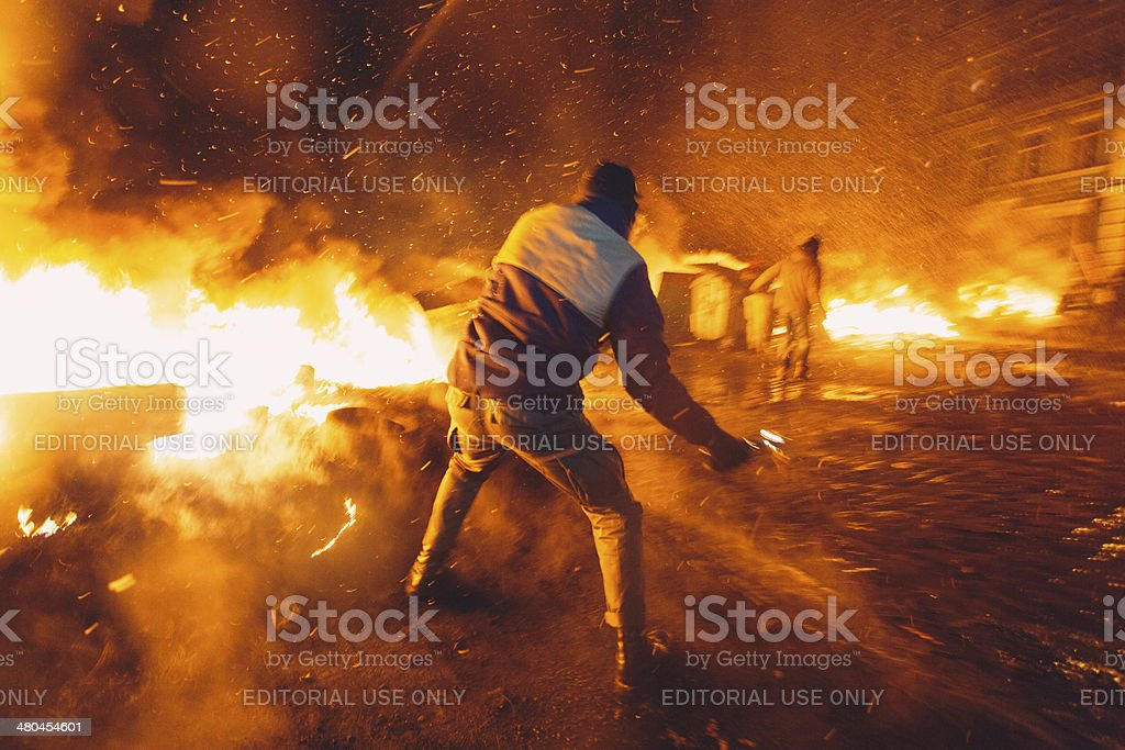 Anti-government riot in Kiev stock photo