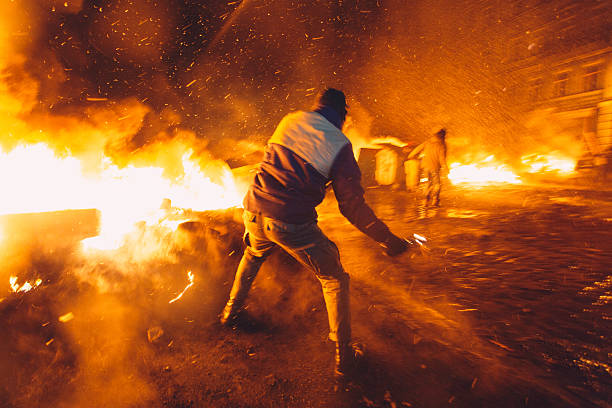 Anti-government riot in Kiev Kiev, Ukraine - 23 January, 2014: riot stock pictures, royalty-free photos & images