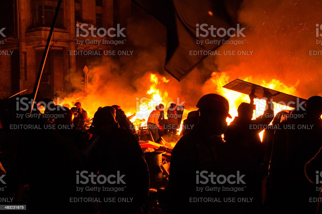 Anti-Government Riot in Kyiv Ukraine stock photo