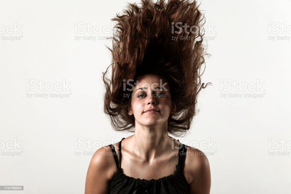 Anti-gravity hair on white stock photo