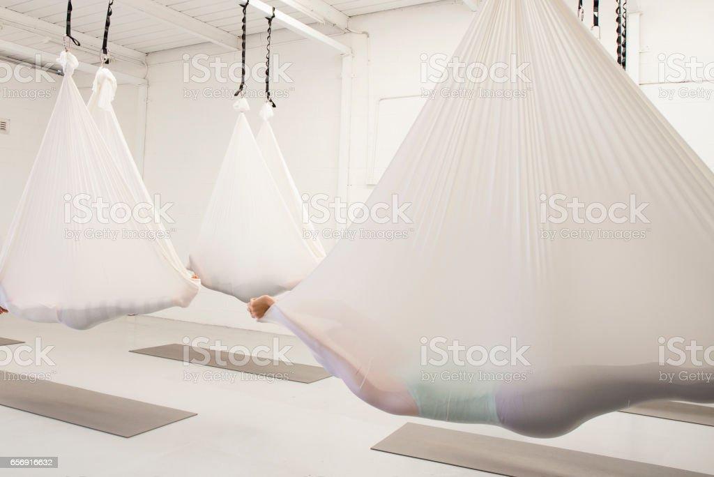 Antigravity Yoga stock photo