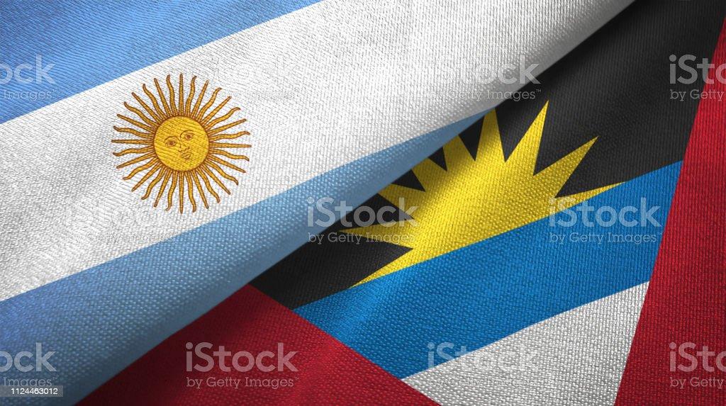 Antigua y Barbuda Argentina dos banderas juntas textil paño, textura de la tela - foto de stock
