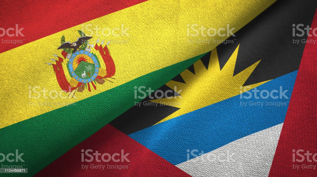 Antigua and Barbuda and Bolivia two flags together textile cloth, fabric texture stock photo